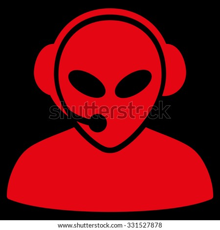 Alien Call Center vector icon. Style is flat red symbol, rounded angles, black background.