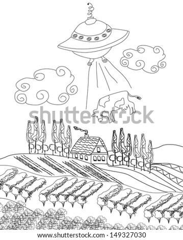 alien cow abduction  - stock vector