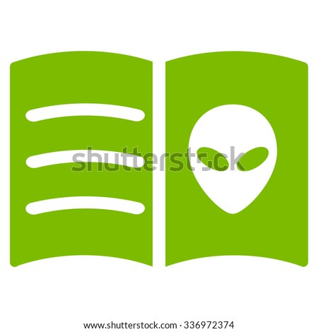Alien Face Book vector icon. Style is flat eco green symbol, rounded angles, white background.