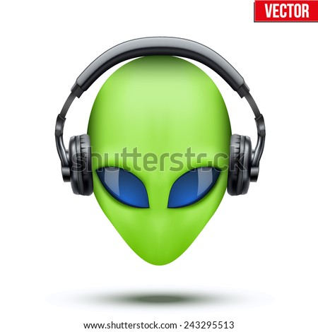 Alien green head with headphones. Vector illustration isolated on white background.