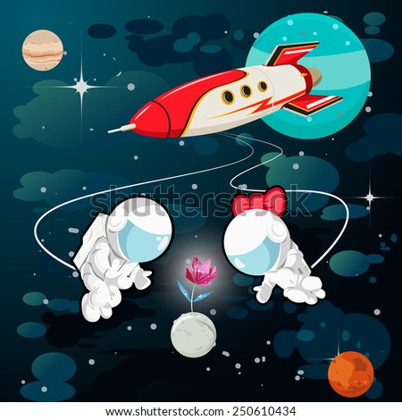alien in space - stock vector