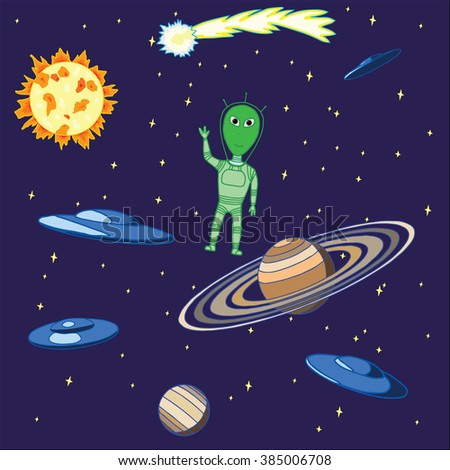 alien in space, vector illustration