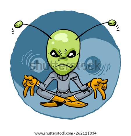 Alien in the lotus position on the background of the sign dao. Vector illustration - stock vector