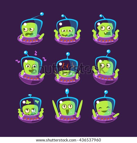 Alien In Ufo Emoji Set Of Simplified Cartoon Character Stickers Isolated On Dark Background - stock vector