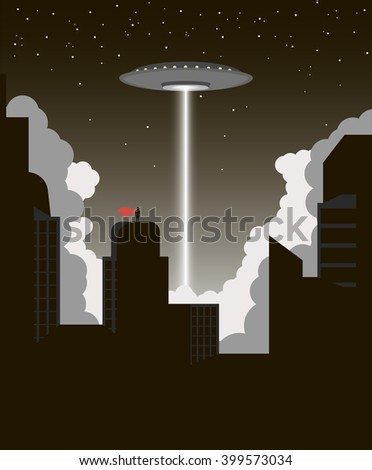 Alien Invasion. UFO destroys the city vector. Superhero protects the city. Silhouette of the city. Clouds of smoke. UFO shoots ray. Flying Saucer. - stock vector