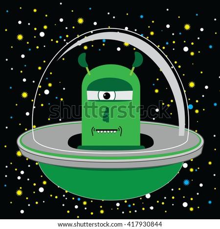 Alien Invasion UFO Spaceship Cartoon Vector In Green - stock vector