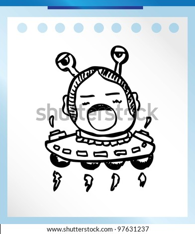 alien monster retro cute - vector illustration doodle outline - stock vector