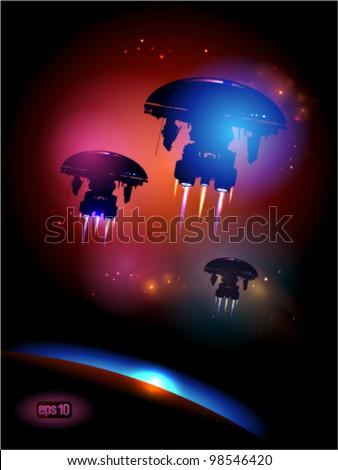 Alien Spacecrafts leaving Earth. Eps 10. - stock vector
