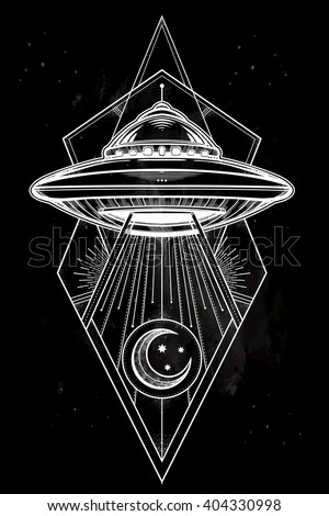 Alien Spaceship geometric design. UFO Background with flying saucer icon. Conspiracy theory concept, tattoo art. Isolated vector illustration.  - stock vector