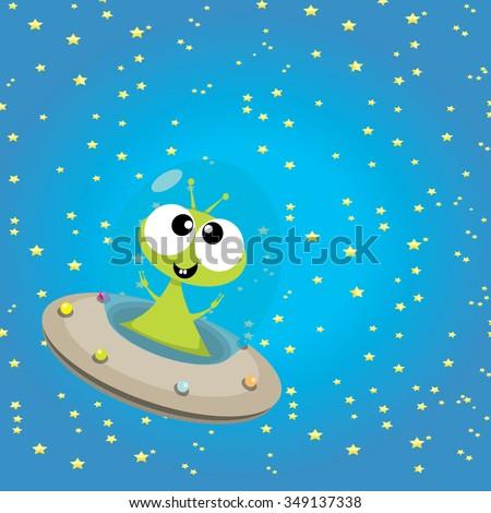 alien spaceship . ufo. green alien in space vector. flying saucer - stock vector