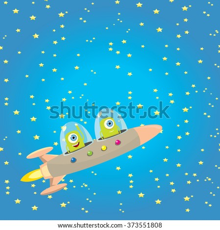 alien spaceship . ufo. green alien in space vector. flying saucer - stock vector