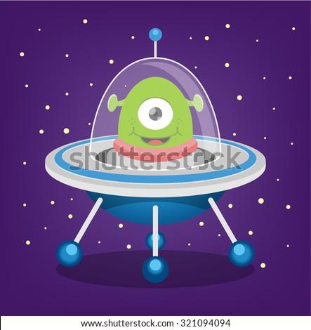Alien vector flat illustration - stock vector