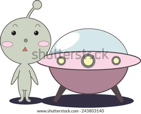 alien with ufo - stock vector