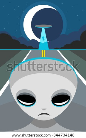 aliens abducting in the road - stock vector