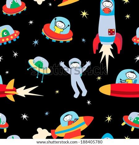 aliens and astronauts - stock vector