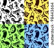 Aliens and monsters. Four seamless vector patterns. - stock vector