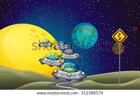 Aliens flying UFO in the space illustration - stock vector