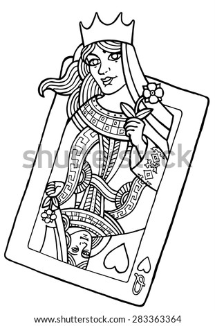 alive playing card of the queen of hearts - vector hand drawing illustration