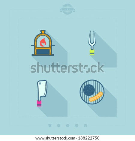 All about food, appliances, objects and other things in relation to Barbecue -  Brick Grill, Fork, Axe, Grill top with a meal. - stock vector