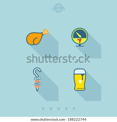 All about food, appliances, objects and other things in relation to Barbecue -  Chicken drumstick, Fahrenheit temperature, Shashlik, Beer glass.  - stock vector