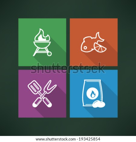 All about food, appliances, objects and other things in relation to Barbecue, pictured here from left to right, top to bottom - BBQ, Grilled fish, Barbecue utensils, Barbecue briquette.  - stock vector