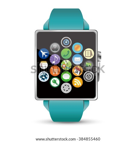 All applications display of the Smart watch illustration on white background - stock vector