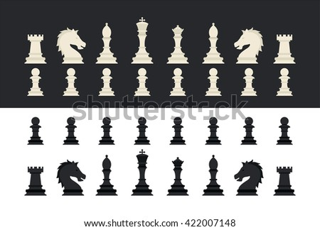 All chess pieces icon. A set of chess pieces. Black and white chess.