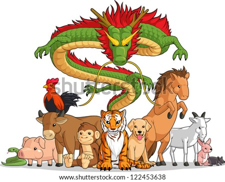 All 12 Chinese Zodiac Animals Together - stock vector