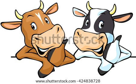 All cows recommend with thumb up - cow vector illustration peeking