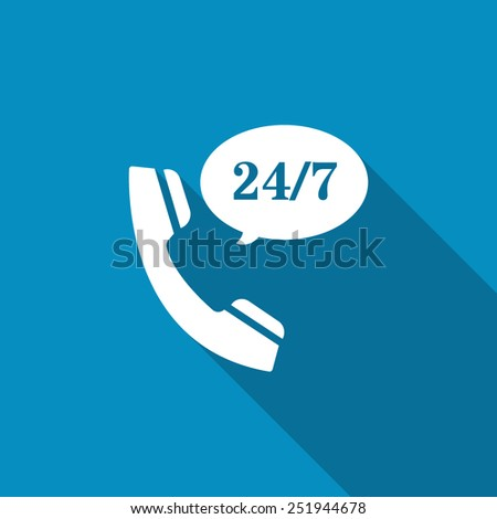 All-day customer support call-center. Flat icon with long shadow - stock vector