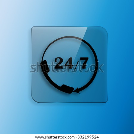 All-day customer support call-center icon - stock vector