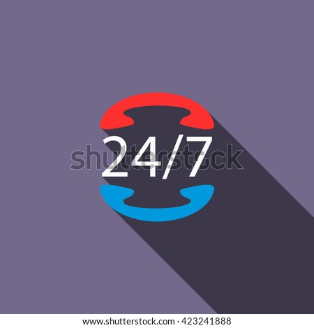 All day customer support call center icon - stock vector