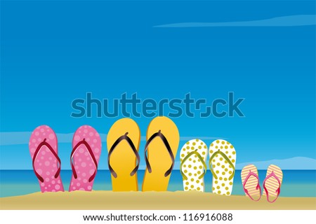 All family in the beach - stock vector