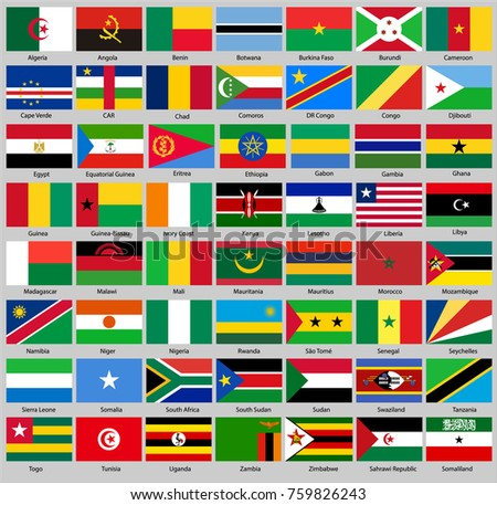All flags of Africa. Proportion 2:3