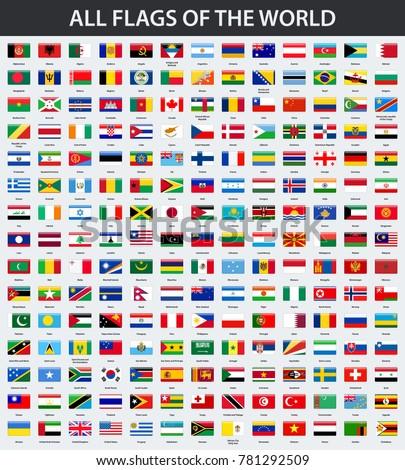 all flags world alphabetical order rectangle stock vector royalty