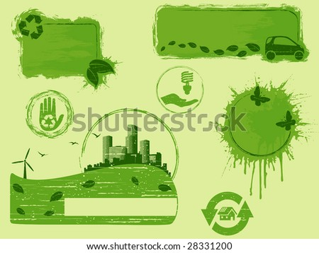 All-green grunge eco design elements (vector); a JPG version is also available