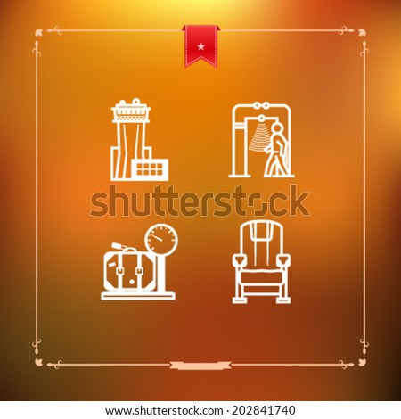 All icons in relation to summer vacation time -  Air traffic control tower, Security scanner, Scale, Plane seat.  - stock vector