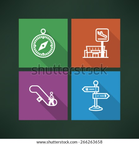 All icons in relation to summer vacation time - Compass, Departure, Escalators, Signpost.  - stock vector
