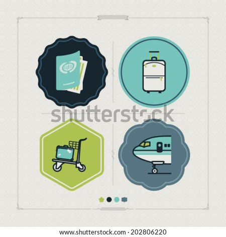 All icons in relation to summer vacation time, pictured here from left to right, top to bottom -  Passport, Suitcase (Luggage), Luggage cart, Airplane.  - stock vector
