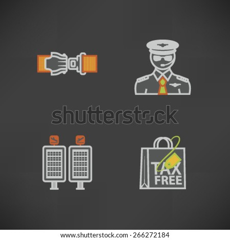 All icons in relation to summer vacation time, pictured here from left to right, top to bottom - Seat belt, Pilot, Arrival/Departure displays, Shopping bag.  - stock vector