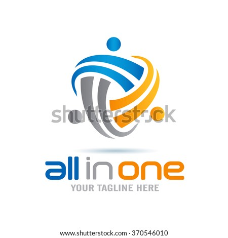 All In One Abstract People Logo Icon Elements Template - stock vector