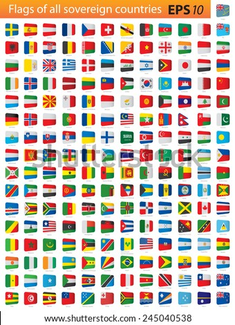 All independent world country flags - stock vector