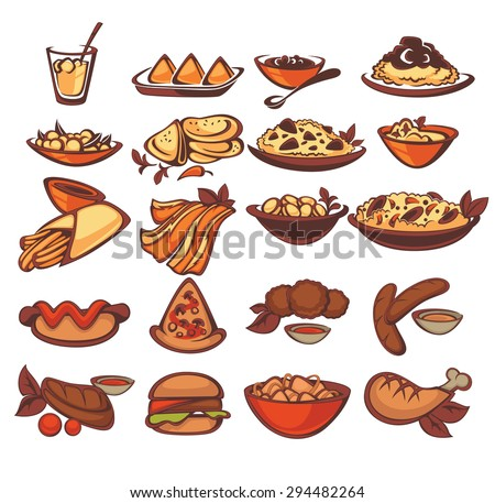 all international food collection: spain, indian, american - stock vector