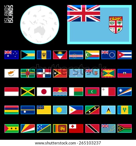 All Island Countries. Neon glow border style for dark backgrounds. E-shop miniature flags.