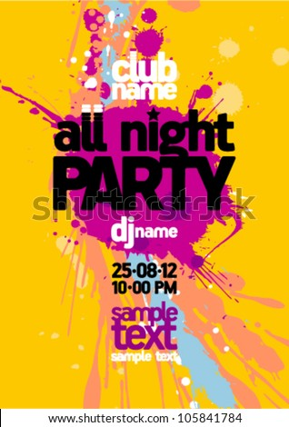 All night party design mock up, bright yellow with vibrant blots, place for text - stock vector