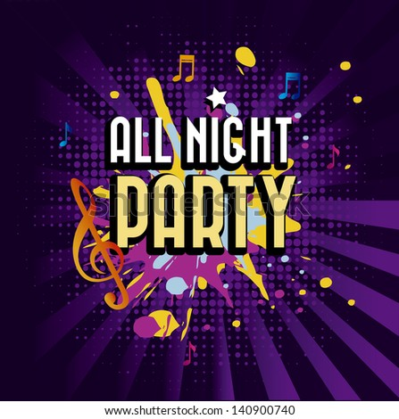 all night party over purple background vector illustration