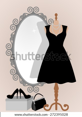 All occasion little black dress in front of decorative vintage frame mirror. Woman wardrobe accessories set, dress on a mannequin, lady purse, high heel shoes on box. vector art illustration, isolated - stock vector