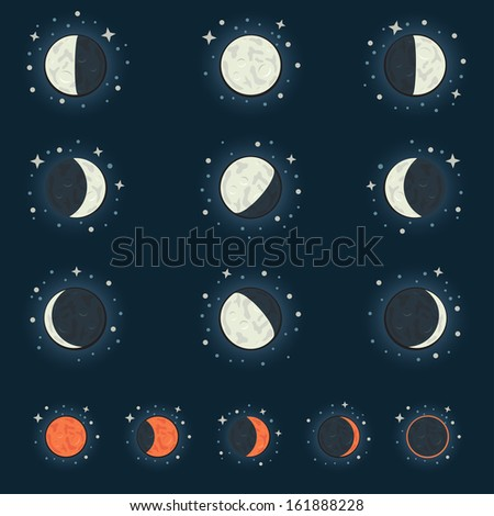 All possible phases of the moon and the lunar eclipse, on a dark star background - stock vector
