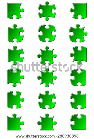 All possible shapes of jigsaw puzzle pieces green - stock vector