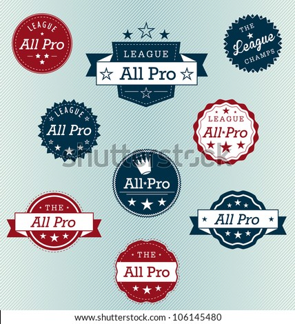 All Pro Sports Label Vector Set - stock vector